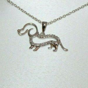 Jewelry - Sterling Silver Dachshund Diamond Necklace